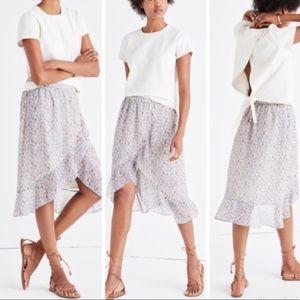 Madewell . Ruffle-Wrap Midi Skirt in Shadowpetal